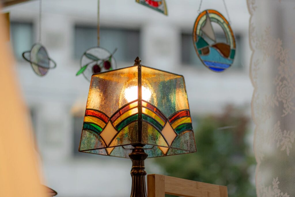 Painted Glass Lamp Shade